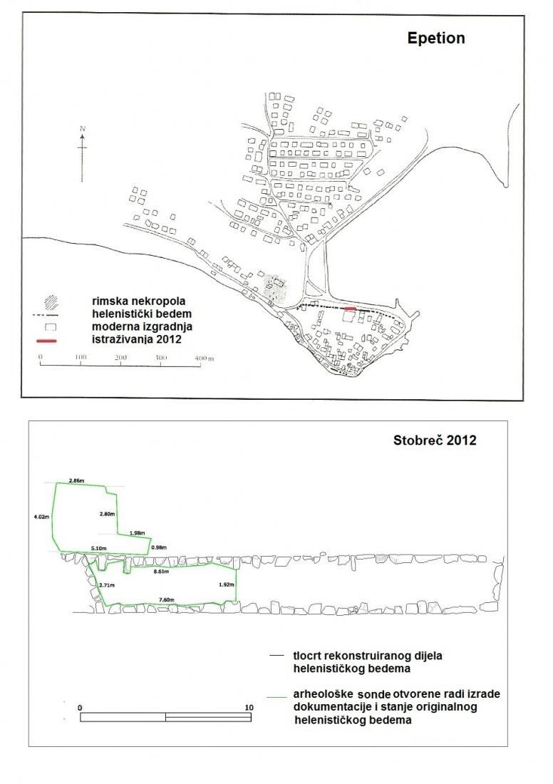 Epetion, prema Kirigin 2010, str. 143; pogled na rekonstruiranu dionicu helenističkog bedema sa sjeverne strane Stobreča s naznačenim probnim sondama otvorenim u svrhu izrade dokumentacije stanja originalnog bedema